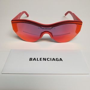 BALENCIAGA RED EXTREME BB0004S MIRROR SUNGLASSES